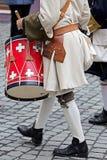 背景中世纪战士,鼓手 免版税库存图片