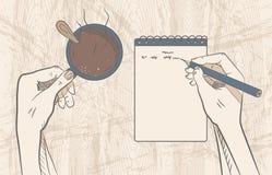 背景中断咖啡新月形面包杯子甜点 创造性的工作 向量 库存图片