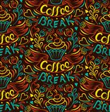 背景中断咖啡新月形面包杯子甜点 蛋糕凹道用手,被截去的无缝的背景 用手被绘的丝带信件葡萄酒样式海报传染媒介 库存图片