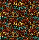 背景中断咖啡新月形面包杯子甜点 蛋糕凹道用手,被截去的无缝的背景 用手被绘的丝带信件 葡萄酒样式海报 库存图片
