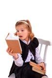 背景书女孩查出在纵向读取少年白色 免版税图库摄影