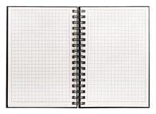 背景书查出的开放白色 有螺旋容器的笔记本 图库摄影