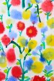 背景五颜六色的花水彩 库存照片
