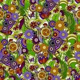 背景五颜六色花卉 与花和gr的无缝的纹理 库存例证