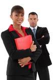背景企业夫妇查出在白色 库存图片