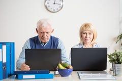 背景企业夫妇查出在白色 免版税库存照片