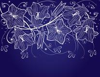 背景会开蓝色钟形花的草花 库存照片