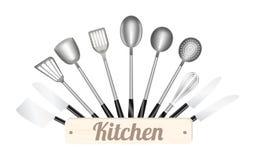 背景例证查出的厨房工具白色 免版税图库摄影