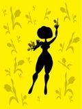 背景俏丽的郁金香妇女 免版税库存图片