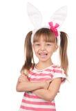 背景兔宝宝耳朵女孩查出的白色 库存图片