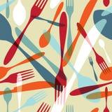 背景刀叉餐具透明模式的剪影 免版税库存图片