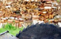 背景刀片圆的日志老锯木头 库存图片