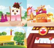 背景动画片食物土地 库存例证