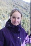 背景卡片正面问候页模板通用万维网妇女 滑雪胜地在北部提洛尔,奥地利 库存照片