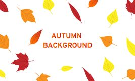 背景叶子在与许多颜色的秋天 库存例证