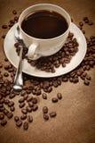 背景咖啡杯木头 免版税图库摄影