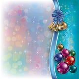 背景响铃圣诞节丝带 免版税库存照片