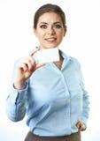 背景商业查出的白人妇女 抽象蓝色看板卡赊帐照片 库存照片