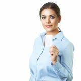 背景商业查出的白人妇女 抽象蓝色看板卡赊帐照片 免版税库存照片