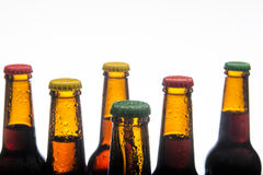背景啤酒瓶上色柔和的橙色被拍摄的工作室黄色 免版税库存照片