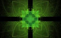 背景图象摘要几何形状绿色对称地安排了以花的形式 免版税库存照片