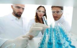 背景图象是学习在玻璃管的一个小组科学家液体 库存图片