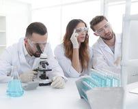 背景图象是工作在实验室里的一个小组科学家 库存照片