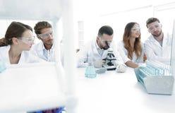 背景图象是工作在实验室里的一个小组科学家 免版税图库摄影