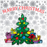 背景圣诞树白色 库存例证