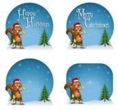 背景圣诞老人灰鼠 免版税库存照片