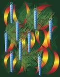 背景圣诞节冰冷的叶子装饰品 免版税库存图片