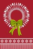 背景圣诞节刀叉餐具花圈 库存图片