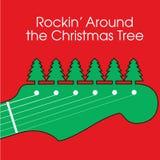 背景圣诞节吉他 库存照片