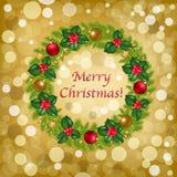 背景圣诞节向量花圈 图库摄影