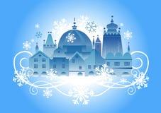 背景圣诞节城镇 库存例证
