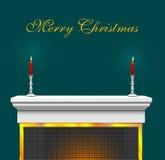 背景圣诞节壁炉披风 免版税库存照片