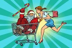 背景圣诞节女孩愉快的销售额购物白色 妇女被买圣诞老人 购物车trol 皇族释放例证