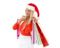背景圣诞节女孩愉快的销售额购物白色 图库摄影