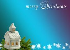 背景圣诞节新年度 灯房子,云杉的分支, S 免版税库存图片