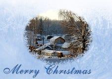 背景圣诞节新年度 积雪的村庄是visibl 图库摄影