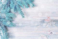 背景圣诞节新年度 蓝色杉树分支与在木背景的雪花 免版税库存照片
