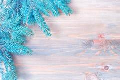 背景圣诞节新年度 蓝色杉树分支与在木背景的雪花 库存图片