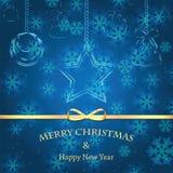 背景圣诞节新的雪花年 库存照片
