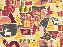 背景圣诞节无缝的向量 妇女和女孩的现代假日样式桃红色的,黄色,红色,灰色,米黄 驯鹿,麋, 向量例证
