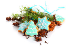 背景圣诞节曲奇饼查出白色 免版税图库摄影
