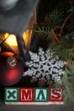 背景圣诞节构成的节假日场面 2007个看板卡招呼的新年好 库存图片