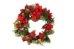 背景圣诞节查出的花圈 免版税图库摄影