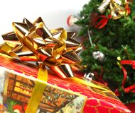 背景圣诞节礼品白色 免版税库存图片