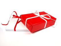 背景圣诞节礼品红色白色 库存照片