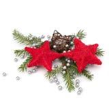 背景圣诞节装饰查出的白色 免版税库存图片